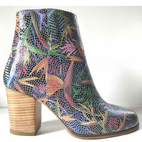 bird of paradise block heel boot blue