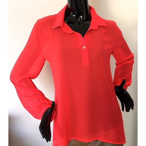 voile blouse oranje