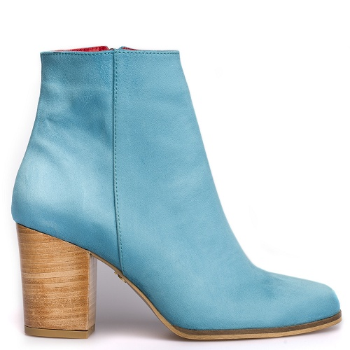 toucan block heel boot turquoise