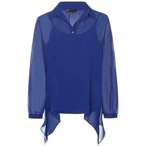 Transparante losvallende blouse inclusief losse top met spaghettibandjes het frisse blauw past goed bij jeans ...